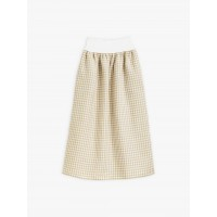 best price taupe gingham linen eloïsa skirt last chance limited sale