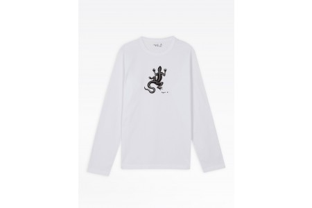 limited sale white long sleeves coulos lizard t-shirt best price last chance