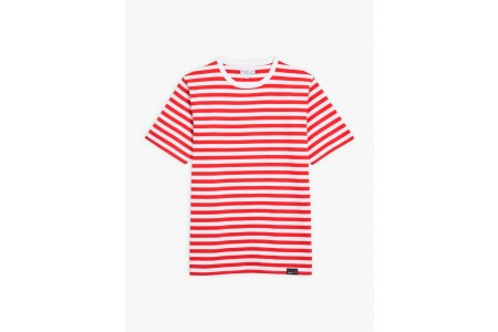 best price red and white striped coulos t-shirt limited sale last chance