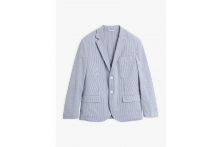 last chance blue and white domino jacket with fine stripes limited sale best price