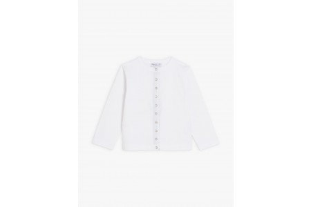 """last chance white cotton jersey """"12 ans"""" snap cardigan best price limited sale"""