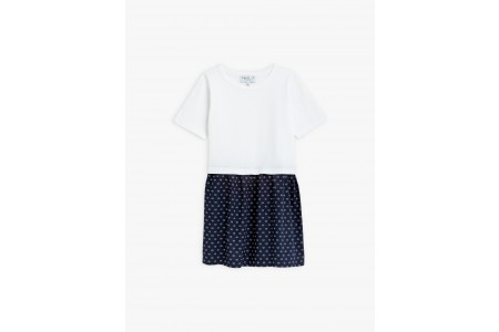 best price white and navy blue dress with layered fabrics limited sale last chance