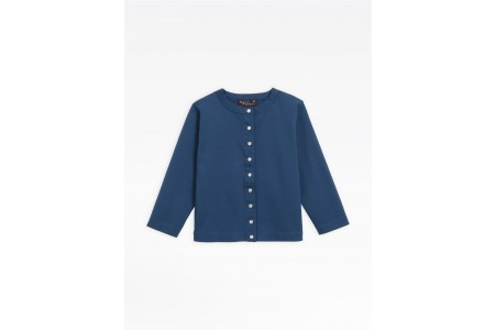 """limited sale navy blue cotton jersey """"12 ans"""" snap cardigan best price last chance"""