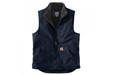 last chance carhartt 104277 - washed duck mock neck vest sherpa lined navy limited sale best price