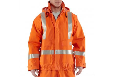 best price carhartt 100447 - flame-resistant high visibility rain jacket bold orange limited sale last chance