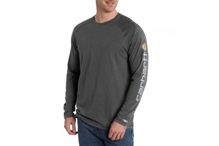 limited sale carhartt 101302 - force® delmont long sleeve graphic t-shirt carbon heather last chance best price