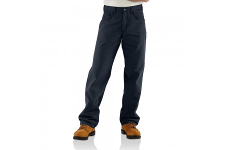 best price carhartt frb159 - flame-resistant midweight canvas loose-original fit pant dark navy last chance limited sale