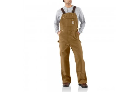 last chance carhartt r37 - duck zip-to-thigh bib overall unlined brown best price limited sale