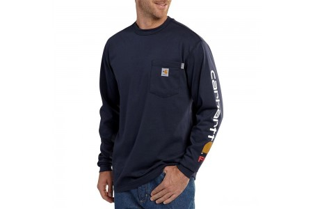 last chance carhartt 101153 - flame-resistant force® graphic long-sleeve t-shirt dark navy best price limited sale