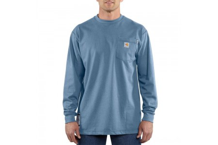 best price carhartt 100235 - flame-resistant force® long sleeve cotton t-shirt medium blue last chance limited sale