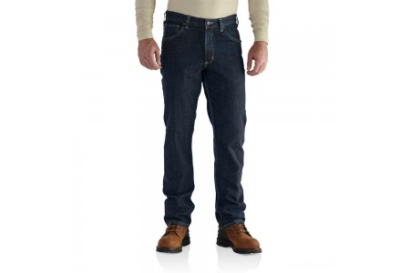 last chance carhartt 101814 - flame-resistant rugged flex™ traditional fit jean deep indigo wash best price limited sale