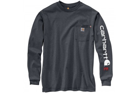 limited sale carhartt 104130 - flame-resistant force signature logo sleeve t-shirt granite heather best price last chance
