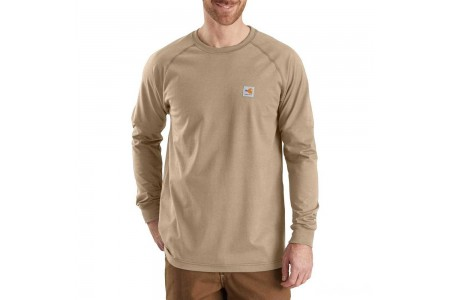 best price carhartt 102904 - flame resistant force long sleeve t-shirt khaki limited sale last chance