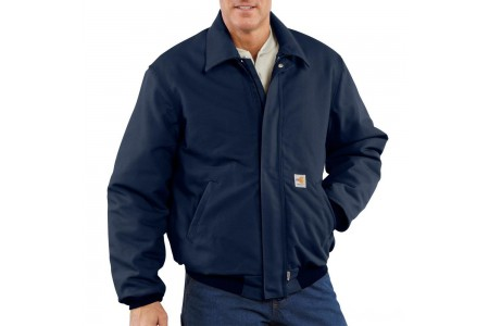 last chance carhartt 101623 - flame-resistant duck bomber jacket quilt lined dark navy best price limited sale
