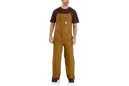 limited sale carhartt 104031 - washed duck bib overalls quilt lined brown best price last chance