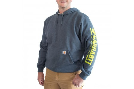 last chance carhartt 103119 - signature graphic logo sleeve hooded sweatshirt charcoal heather best price limited sale