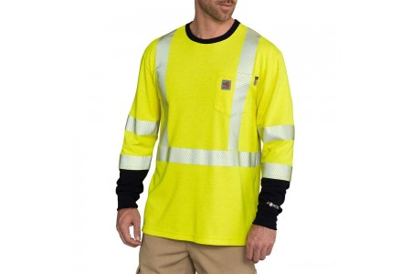 best price carhartt 102905 - flame resistant high-visibility long sleeve t-shirt class 3 bright lime last chance limited sale