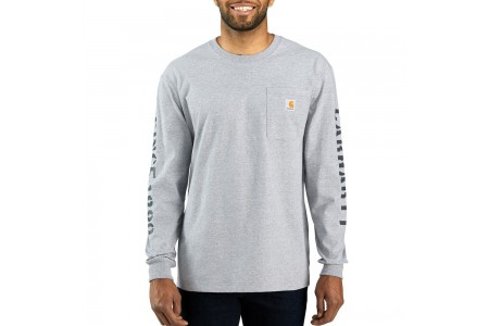 best price carhartt 103845 - workwear double sleeve graphic long t-shirt heather gray last chance limited sale