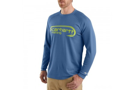 best price carhartt 103571 - force fishing graphic long sleeve t-shirt federal blue limited sale last chance