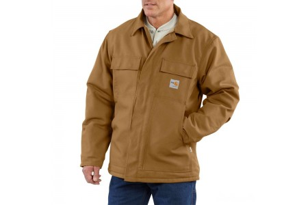 last chance carhartt 101618 - flame-resistant duck traditional coat quilt lined brown limited sale best price