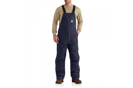 last chance carhartt 102691 - flame resistant quick duck® bib overall quilt lined dark navy best price limited sale