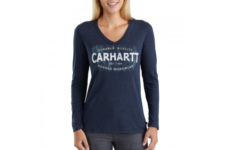 """last chance carhartt 103253 - women's lockhart """"durable quality"""" long sleeve t-shirt navy nep limited sale best price"""