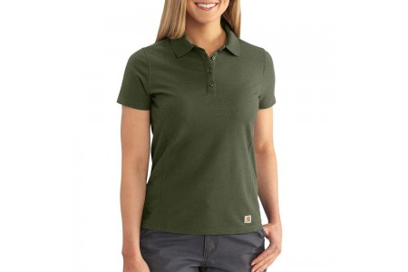 best price carhartt 102460 - women's contractor's short sleeve work polo shirt moss limited sale last chance