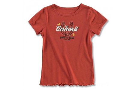 last chance carhartt ca8051 - born and bred t-shirt girls dark red limited sale best price