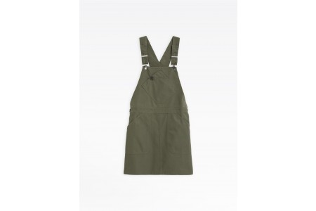 last chance khaki washed cotton overall dress best price limited sale