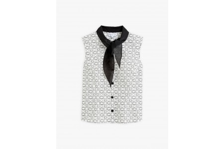 last chance geometric pattern shirt with scarf collar best price limited sale