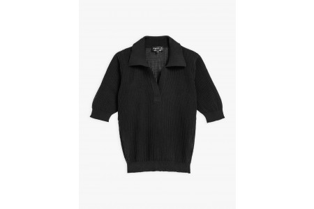 limited sale black ribbed knit prissy polo shirt best price last chance