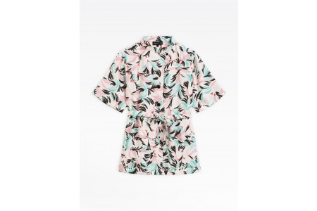 limited sale belted shirt with tropical print best price last chance