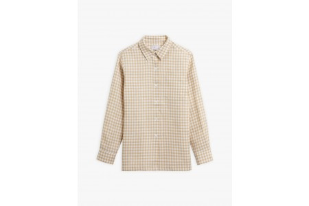 best price taupe gingham linen boy shirt last chance limited sale