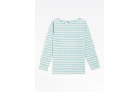 best price light blue and beige striped bow t-shirt limited sale last chance