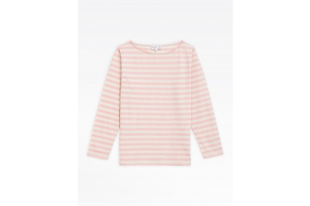 last chance light pink and beige striped bow t-shirt limited sale best price