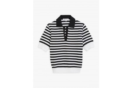 best price black and white striped pris sweater limited sale last chance