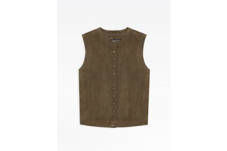 last chance green suede leather sleeveless snap cardigan best price limited sale