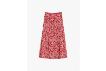 limited sale red cherine skirt with floral print best price last chance