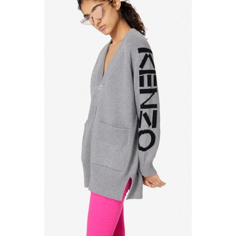 last chance kenzo zipped cardigan - pale grey limited sale best price