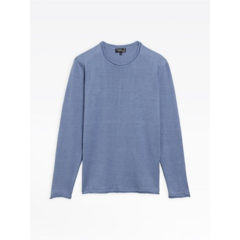 best price blue linen coming sweater limited sale last chance