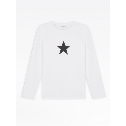 limited sale white long sleeves star men's t-shirt last chance best price