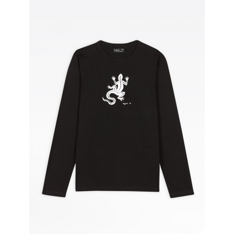 best price black long sleeves coulos lizard t-shirt limited sale last chance