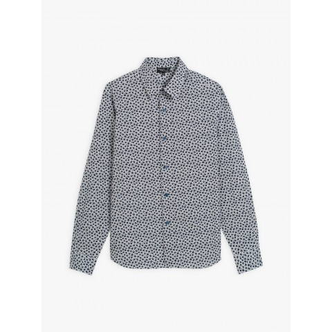 last chance blue cotton percale patterned syd shirt limited sale best price