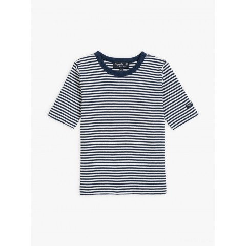 limited sale navy blue and white ribbed coulos t-shirt with stripes last chance best price