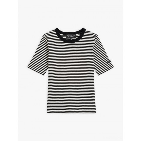 limited sale black and white ribbed coulos t-shirt with stripes best price last chance