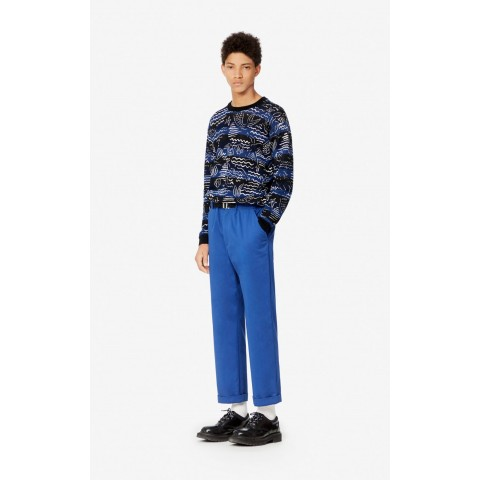 limited sale belted straight-cut trousers - navy blue best price last chance