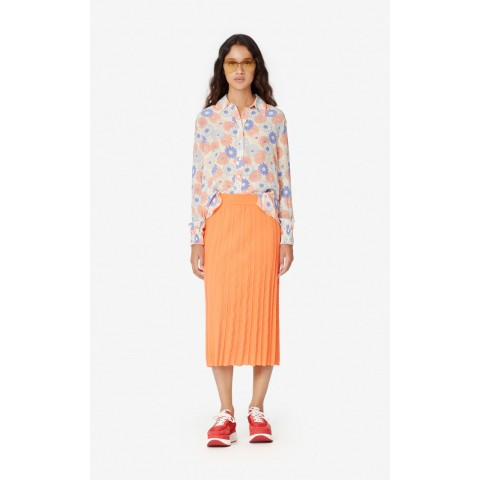 last chance pleated midi skirt - apricot best price limited sale