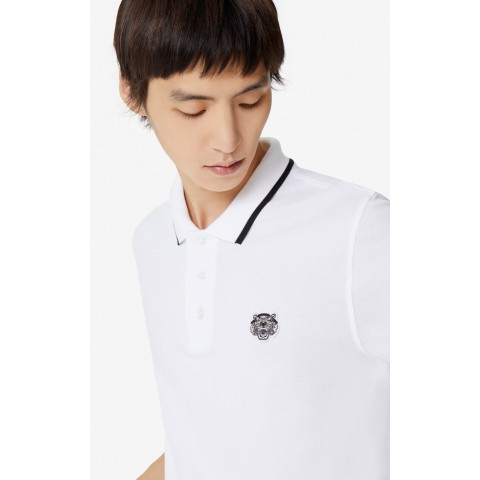 last chance slim fit tiger polo shirt - white best price limited sale