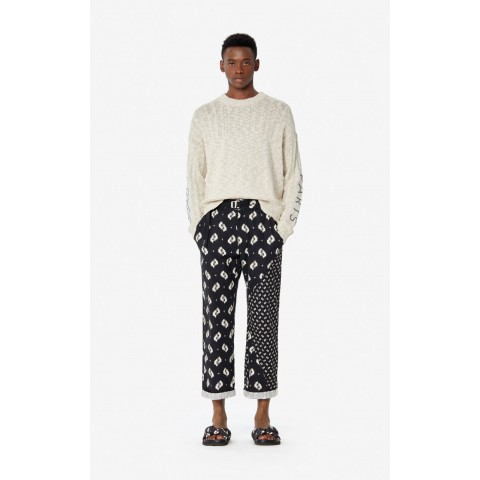 best price 'ikat' straight-cut trousers - black limited sale last chance