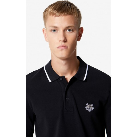 best price long sleeve tiger polo shirt - black last chance limited sale